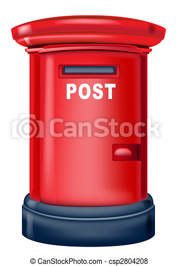 Drawing Of Red Postbox In A White Background.