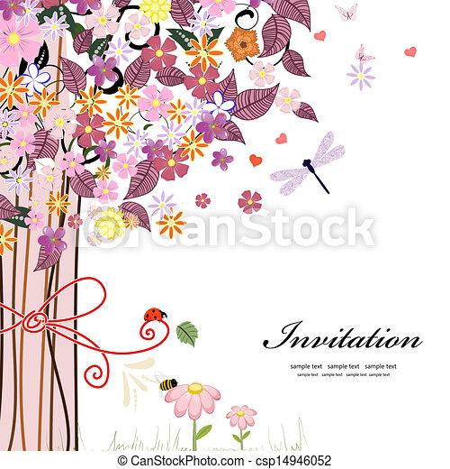 Postcard design with decorative tree - csp14946052