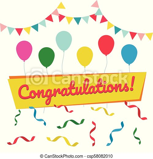 congratulation card flat vector illustration postcard for
