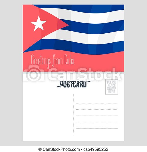 Postcard From Cuba With Cuban Flag Vector Illustration