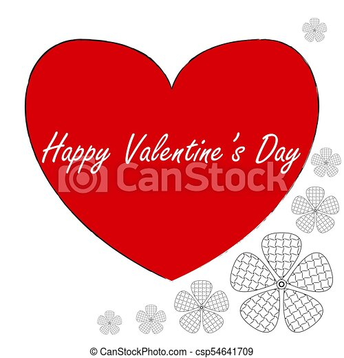 Postcard In Zen Art Style Happy Valentine S Day Red Heart With