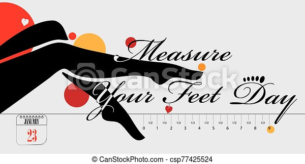 Postcard Measure Your Feet Day - csp77425524