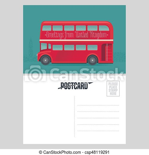 postcard template with greetings from united kingdom uk with red