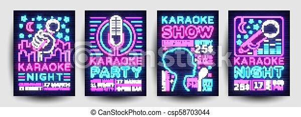 La Colección De Carteles De Karaoke Vector Neón Planta De