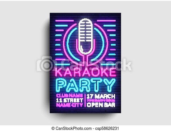 El Vector De Neón De La Fiesta De Karaoke Planta De Diseño