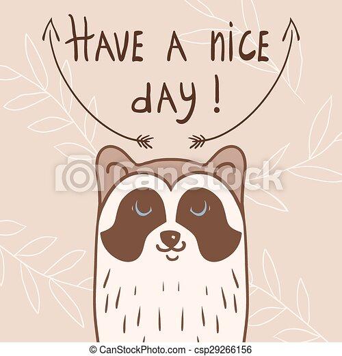 Postcard with raccoon - csp29266156