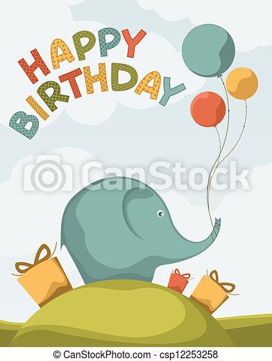 Postcards Birthday Cute Elephants