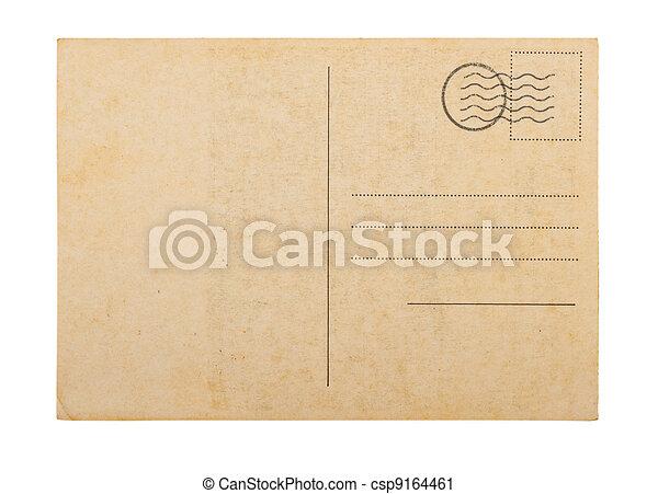 poste, antigas, fundo, cartão, em branco, branca - csp9164461