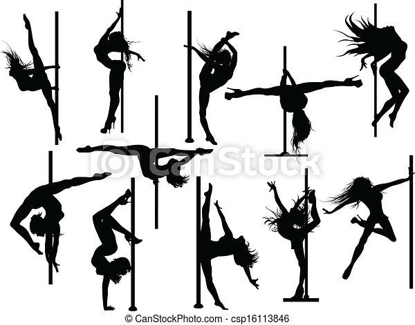 Siluetas de bailarina de polaco - csp16113846