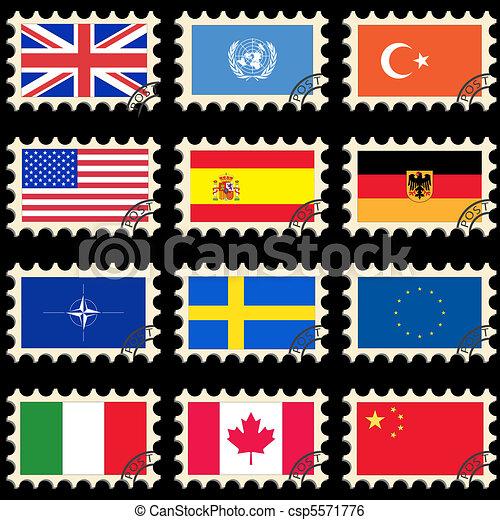 poste, bandeiras, selos - csp5571776