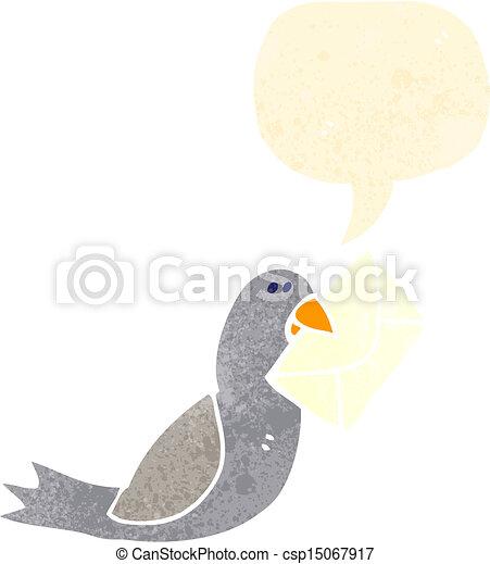 Poste Pigeon Retro Dessin Animé