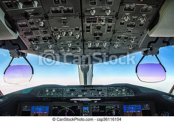 poste pilotage, avion - csp36116104