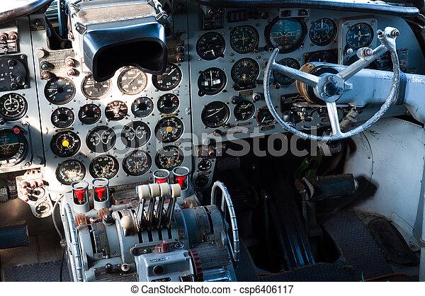 poste pilotage, avion, vue - csp6406117
