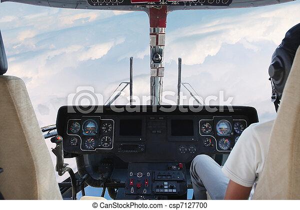 Poste pilotage, hélicoptère. Poste pilotage, intérieur, image ...