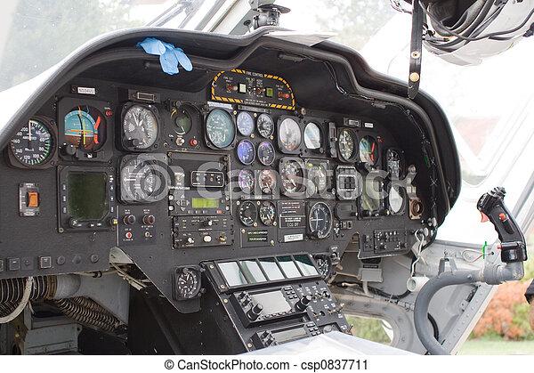 Poste pilotage, hélicoptère. Dashboard., vue intérieur, hélicoptère.