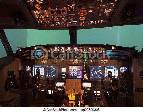 Poste Pilotage Interieur Vol Fait Maison Simulateur Canstock