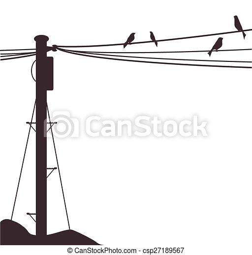 poste, telégrafo, aves - csp27189567