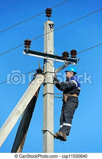 Poste trabajo electricista delantero potencia foto for Escalera de electricista
