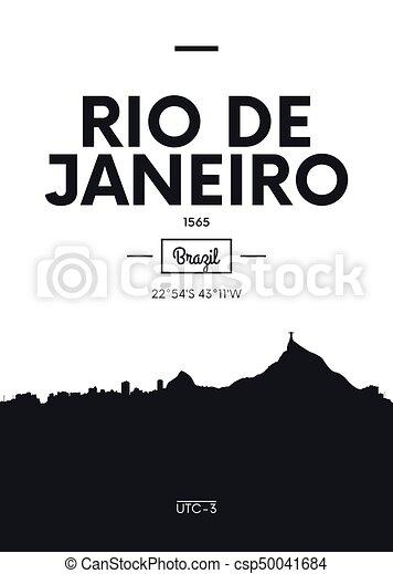 Poster city skyline Rio de Janeiro, Flat style vector illustration - csp50041684