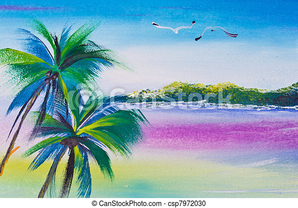 Poster Color Drawing Coconut Tree And Sea