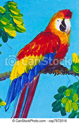 Poster Color Drawing Red Macaw