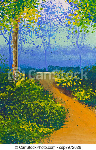 Poster Color Drawing Walk Way In Forest