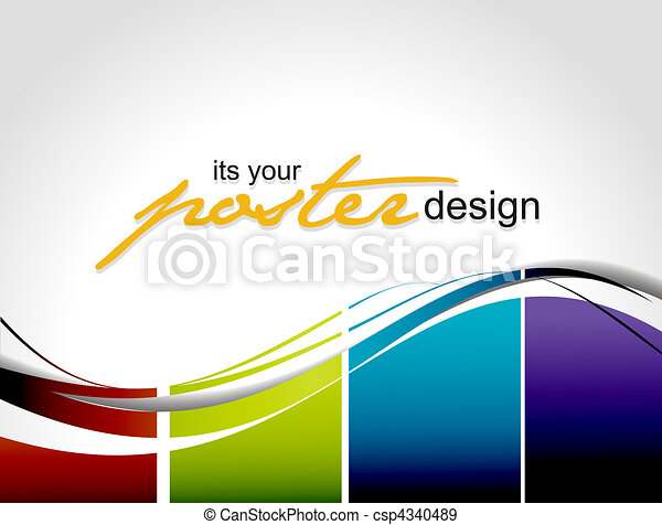 Line Art Poster Design : Poster design abstract background with colorful for eps