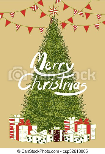 Colorful Christmas Background Design.Poster Design For Christmas Event In Simple Flat Style With Text Background Design In Colorful Color With Christmas Tree Gift Box Below And White