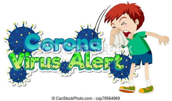 Poster design for coronavirus theme with boy coughing - csp79564969