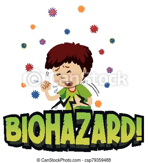 Poster design for coronavirus theme with boy coughing - csp79359488