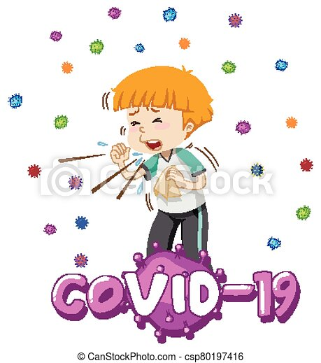 Poster design for coronavirus theme with boy coughing - csp80197416