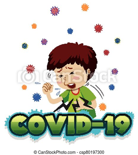 Poster design for coronavirus theme with boy coughing - csp80197300