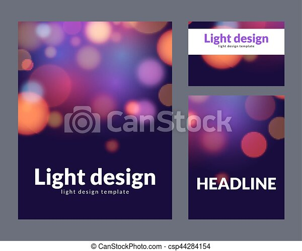 Poster design template with bokeh light effect  Vector modern card concept   Holiday flyer template for concert or show party