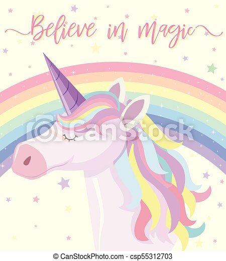 Poster design with rainbow unicorn - csp55312703