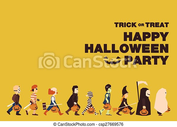 Poster, Flat banner or background for Halloween Party Night.Jason, Pirate, Clown, Dracula, Mummy, Frankenstein, Witch, Messenger of death, Spooky - csp27669576
