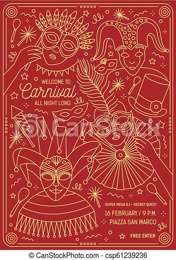 Poster Flyer Or Invitation Template For Masquerade Ball Carnival Festival Or Party With Characters Wearing Festive Masks And Costumes Vector