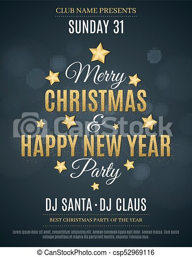 Poster For The Christmas And New Year Party Invitation Card The Text Is Made Of Gold Glitters Glare Bokeh The Names Of The Dj And Club Gold