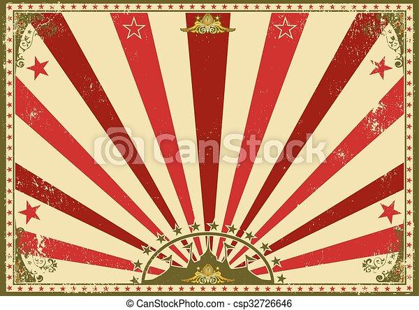 poster, horizontaal, circus, sunbeams, rood - csp32726646
