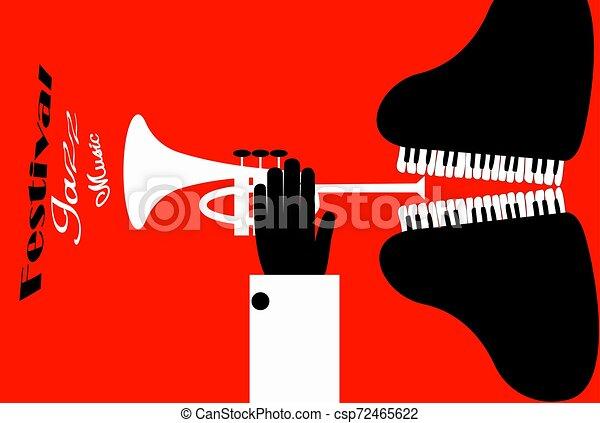 poster., illustration., 形態, 祝祭, ジャズ, 人, ベクトル, trumpet., プレーする, ピアノ - csp72465622
