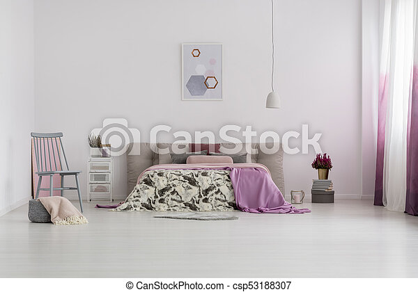 Poster in bright bedroom - csp53188307