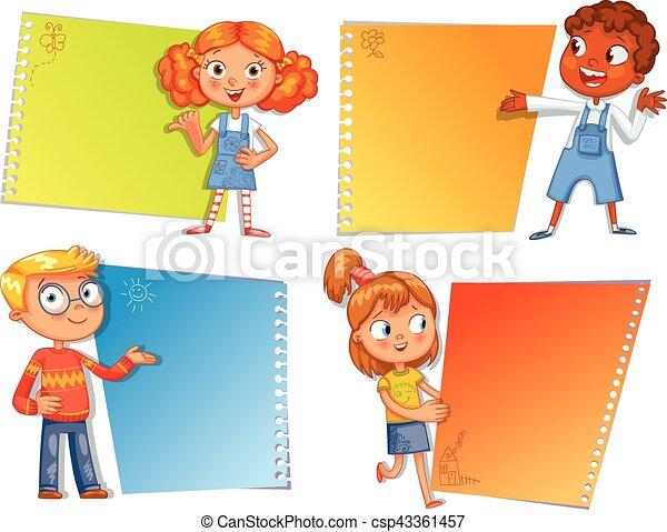 poster., leerlingen, wijzende, gereed, boodschap, jouw - csp43361457
