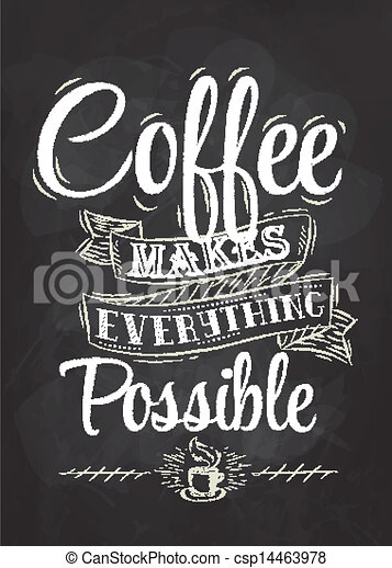 Poster lettering coffee chalk - csp14463978