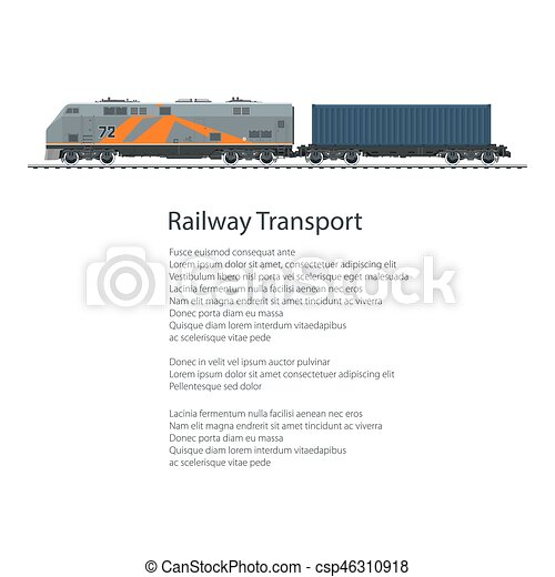 Poster Locomotive with Cargo Container - csp46310918