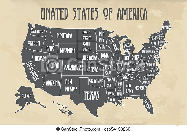 Map Of United States Of America With States Names.Poster Map Of United States Of America With State Names Black And White Print Map Of Usa For T Shirt Poster Or Geographic Themes