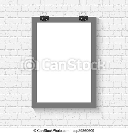 Poster mock up on the brick wall. Vector blank white paper poster ...