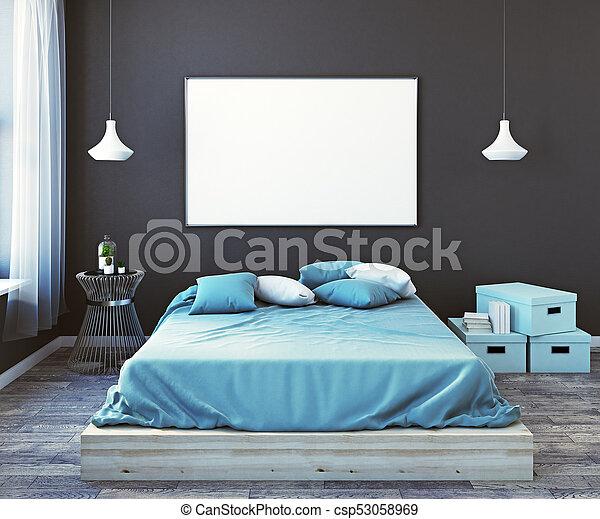 Poster, moderne, slaapkamer, voorkant, mannelijke , lege. Op ...