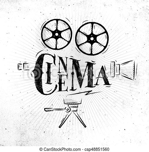 poster movie camera lettering cinema in retro style drawing dirty