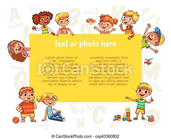 Poster., schablone, werbung, besitz, leer, broschüre, kinder ...