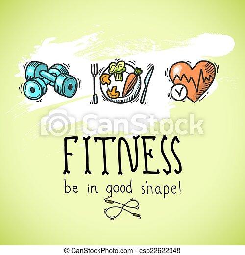 poster, schets, fitness - csp22622348