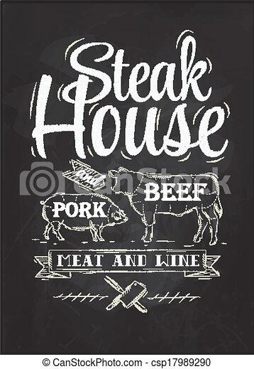 Poster Steak House chalk - csp17989290